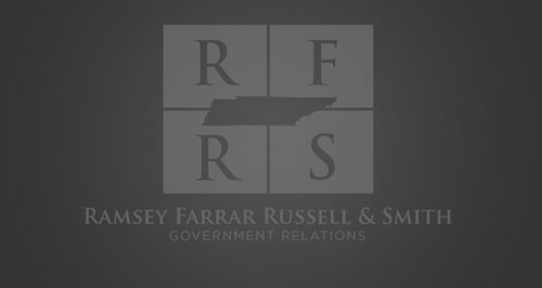 Ramsey, Farrar, Russell & Smith black and white logo.